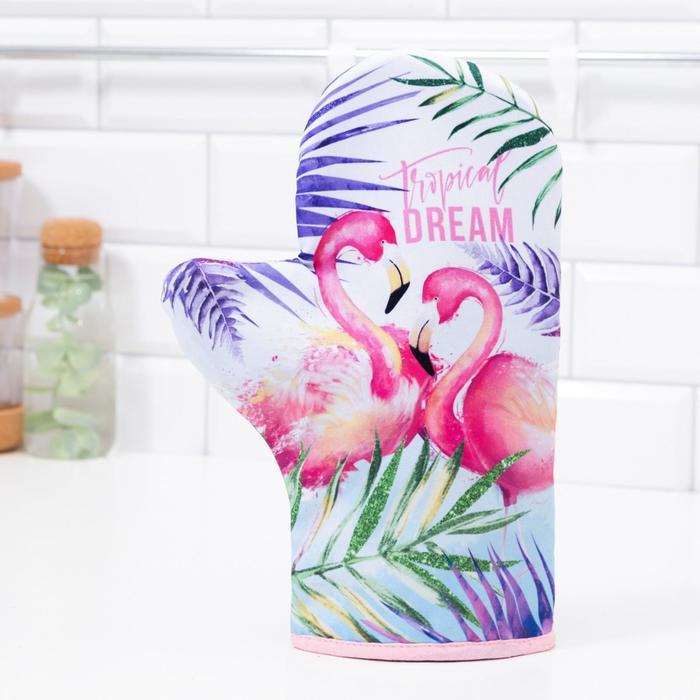 "Варежка-прихватка ""Tropical dream"" 20х28см,35% х/л,65% п/э,ватин 250г/м2"