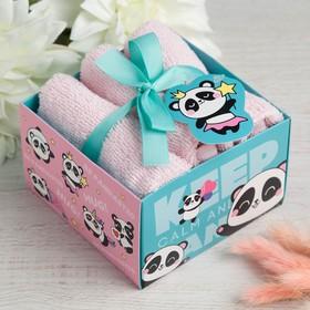 "Набор махровых полотенец ""Panda"" 30х30 см - 3 шт, хлопок 340гр/м2"