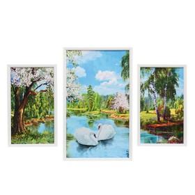 "Модульная картина ""Лебеди в пруду"" 20х35-2шт, 29х49-1шт, 50х70 см"