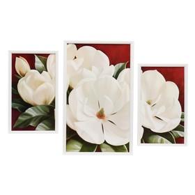 """Модульная картина """"Белые бутоны"""" 20х35-2шт, 29х49-1шт, 50х70 см"""