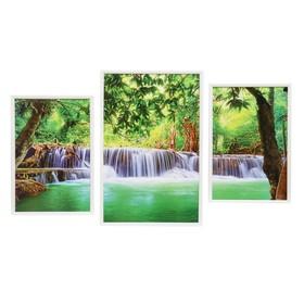 """Модульная картина """"Тропический водопад"""" 30х45-2шт, 39х59-1шт, 60х100 см"""