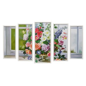 """Модульная картина """"Букет у окна"""" 23х59-1шт, 20х53-2шт, 18х47-2шт, 60х100 см"""