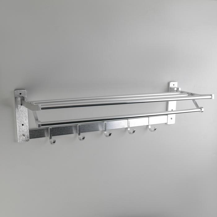 Полка откидная с держателем полотенец, 5 двигающихся крючков, 59,5×20,5×15 см, алюминий