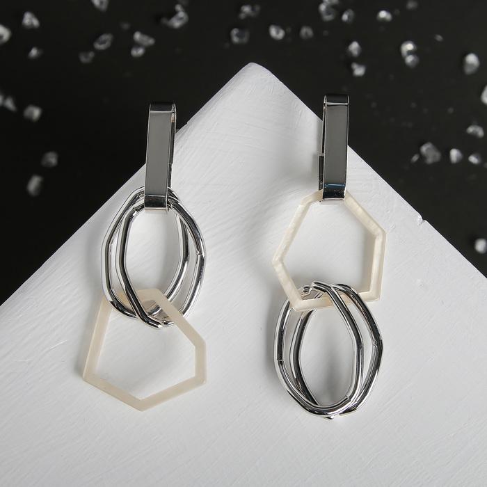 """Серьги ассорти """"Геометрия"""" мятые овалы, цвет белый в серебре"""