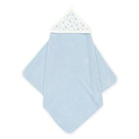 Пеленка-полотенце для купания, 75х75, голубой молочный, махра, 360г/м