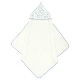 Пеленка-полотенце для купания, 75х75, молочный голубой, махра, 360г/м
