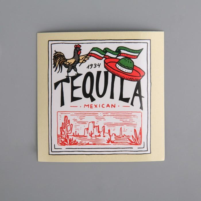 Наклейка на бутылку «Tequila», красная