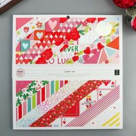 Pink Paislee Scrapbooking Paper Set - Lucky Us Collection - 30.5x30.5 cm - 36 L