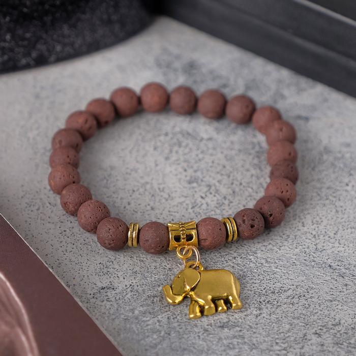 """Браслет унисекс """"Лава"""" слон, цвет коричневый, шар №8, d=7 см"""