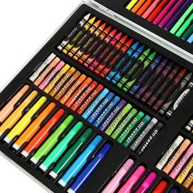 Набор для рисования в деревянной коробке обтянутой пвх Большой МИКС