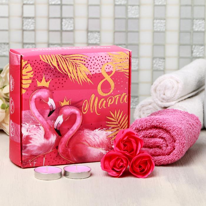 """Подарочный набор """"8 Марта. Фламинго"""", мыльные розы 3 шт., 2 свечи, полотенце"""