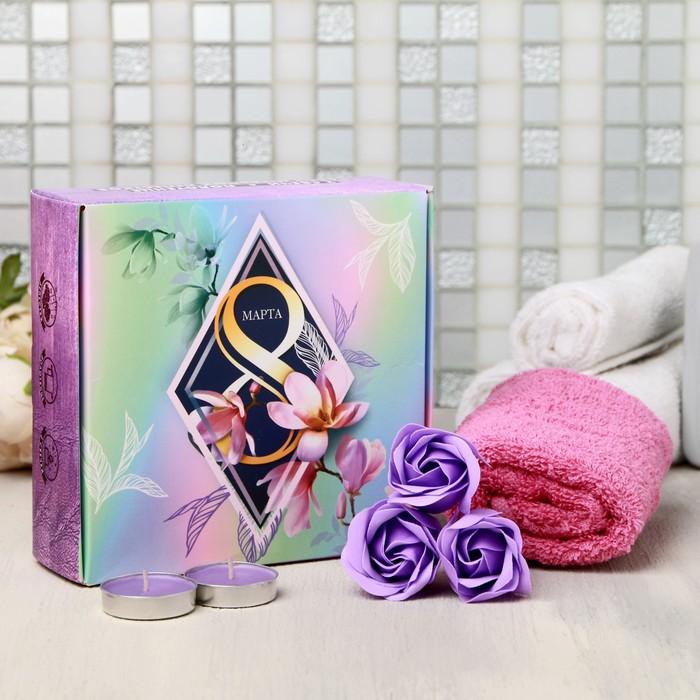 Подарочный набор Shine Bright, мыльные розы 3 шт., 2 свечи, полотенце