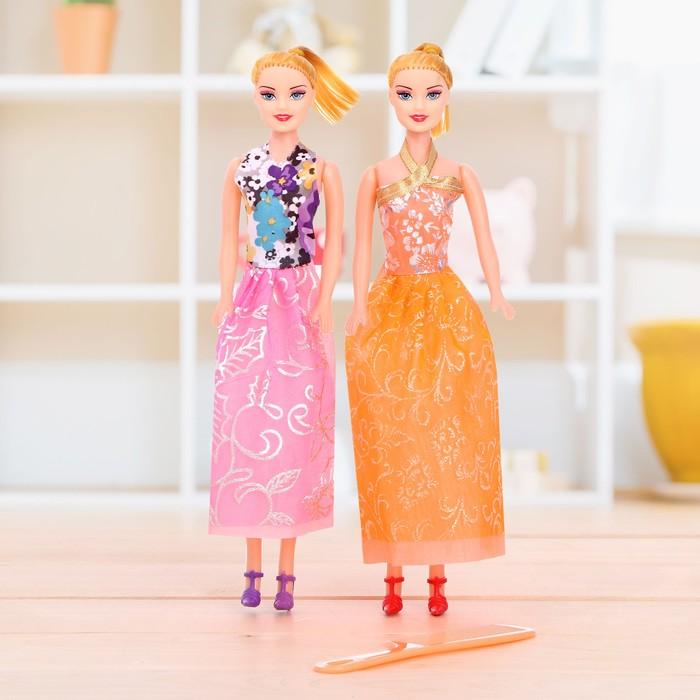 Куклы модели «Подружки» с аксессуарами, набор 2 шт, МИКС