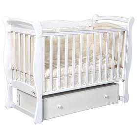 Детская кровать Oliver Viana, автостенка, универсальный маятник, ящик, цвет белый