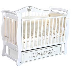 Детская кровать Oliver Daniella, автостенка, универсальный маятник, ящик, цвет белый