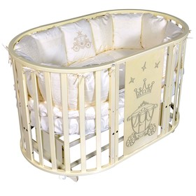 Детская кровать Oliver Gabriella Royal 6 в 1, универсальный маятник, колесо, цвет слоновая кость