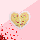 "Postcard-Valentine ""Love"" pizza, 7.1 x 6.1 cm"