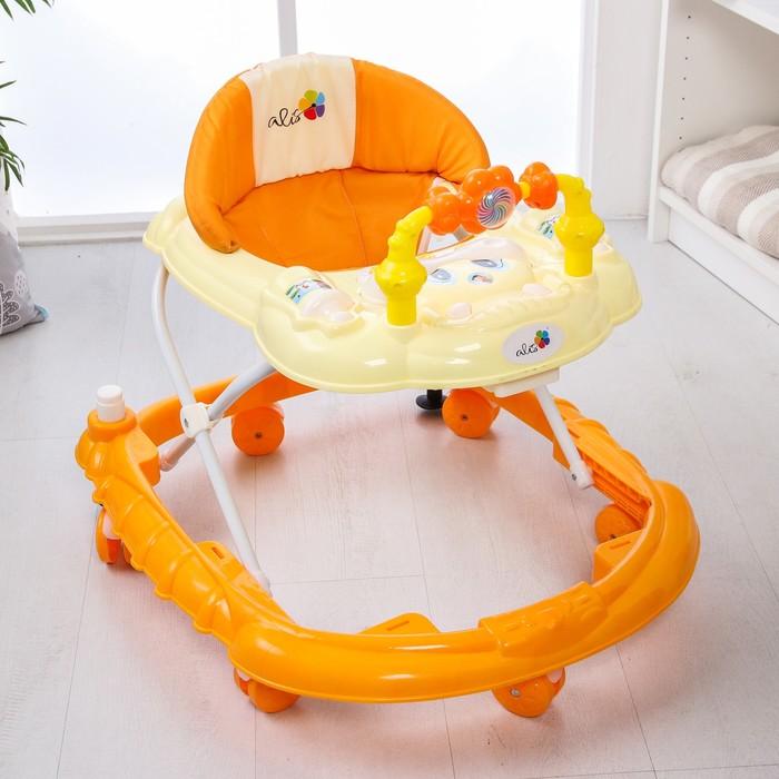 Ходунки «Весёлые друзья», 6 больш. колес, муз. игрушки, оранжевый - фото 961176