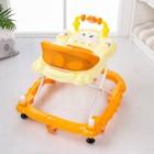 Ходунки «Весёлые друзья», 6 больш. колес, муз. игрушки, оранжевый - фото 961179