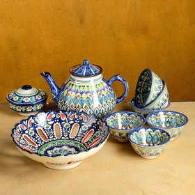 Набор чайный Риштан, 9 предм: чайник 1,5л, 6 пиал 9,5см, конфетница 23см, сахарница 250мл