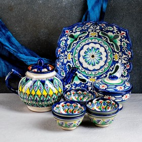 Набор чайный Риштан, 6 предм: чайник 1л., 3 пиалы 9,5см, конфетница 23см, сахарница 250м