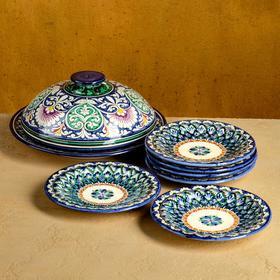 Набор для блинов Риштан, 7 предметов: блинница 24,5 см, 6 тарелок 17см
