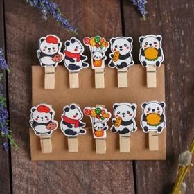 Прищепки декоративные «Панды» набор 10 шт.