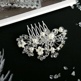 """Гребень для волос """"Николетта"""" 7*7 см, цветы с листочками, серебро"""