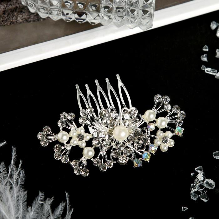 """Гребень для волос """"Николетта"""" 7*7 см, цветочки, серебро"""