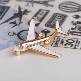 """Brooch """"the Plane"""" liner, color blue and white gold"""