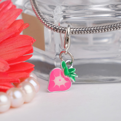 "Charm ""Strawberry"" juicy, pink green silver"