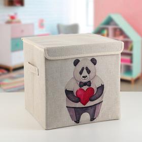 Короб для хранения с крышкой «Влюблённая панда», 30×30×28,5 см