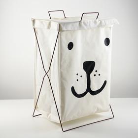 Корзина для белья складная «Медвежонок», 35×28,5×57,5 см, цвет белый