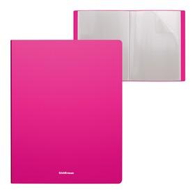 Папка 40 вкладышей, А4, пластиковая, ErichKrause Neon, розовая
