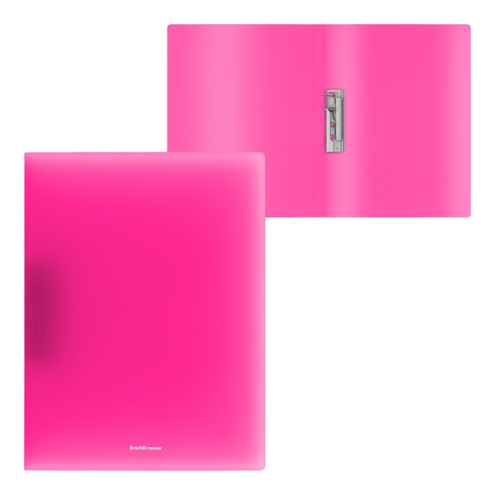 Папка с боковым зажимом А4, ErichKrause Neon, розовая