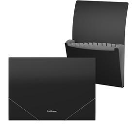 Папка-картотека на резинке A4, 12 отделов, ErichKrause Matt Classic, чёрная
