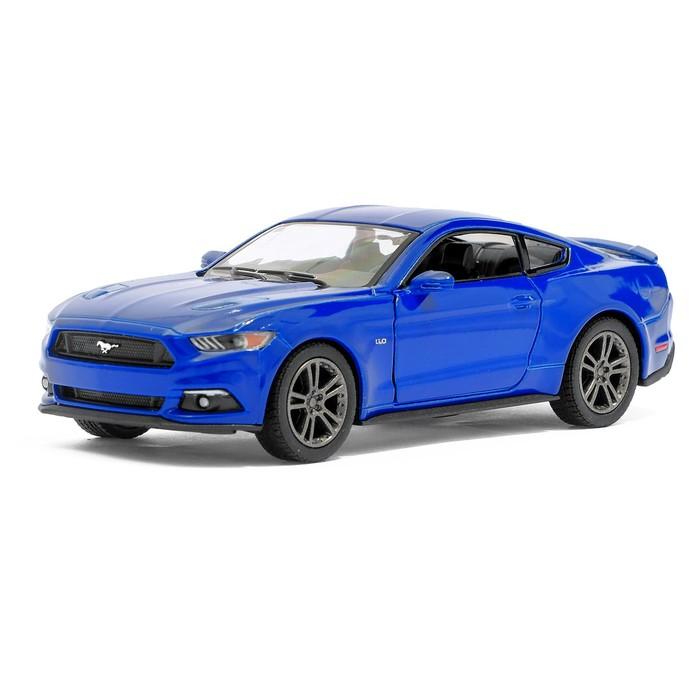 Машина металлическая Ford Mustang GT, 1:38, открываются двери, инерция, цвет синий - фото 105651603