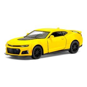 Машина металлическая Chevrolet Camaro ZL1, 1:38, открываются двери, инерция, цвет жёлтый