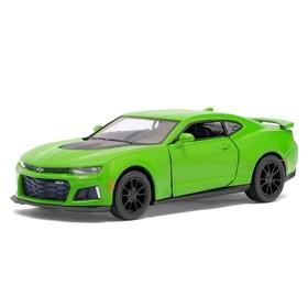 Машина металлическая Chevrolet Camaro ZL1, 1:38, открываются двери, инерция, цвет зелёный