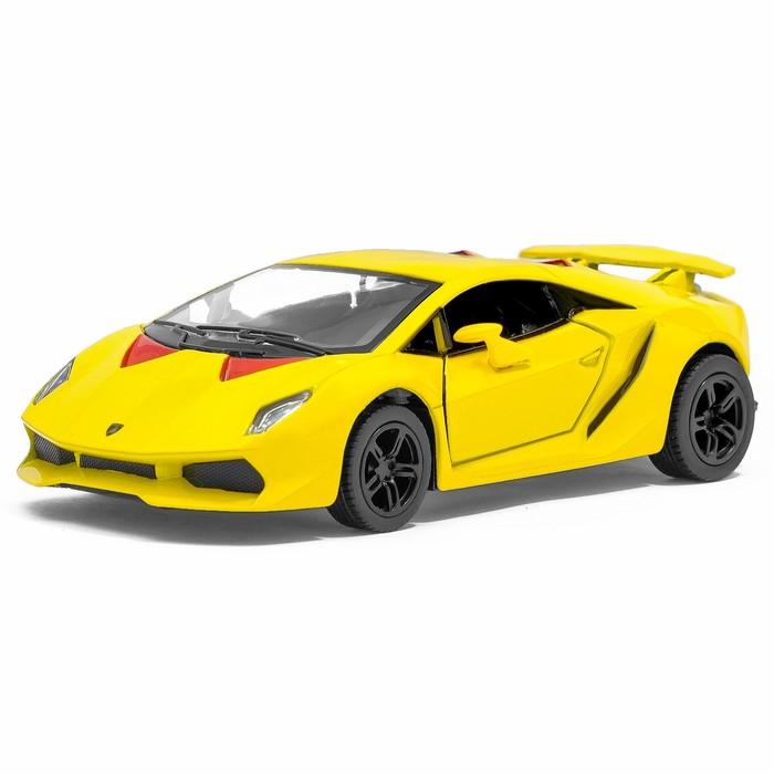 Машина металлическая Lamborghini Sesto Elemento, 1:38, открываются двери, инерция, цвет жёлтый - фото 105651638