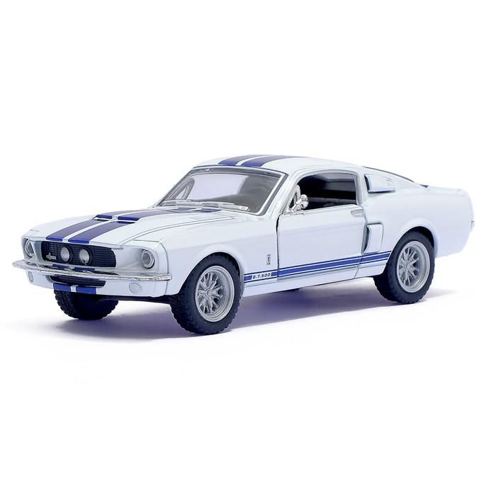 Машина металлическая Shelby GT-500, 1:44, открываются двери, инерция, цвет белый - фото 105651647