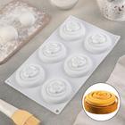 Форма для муссовых десертов и выпечки 30×17,5 см «Спираль», 6 ячеек, цвет белый