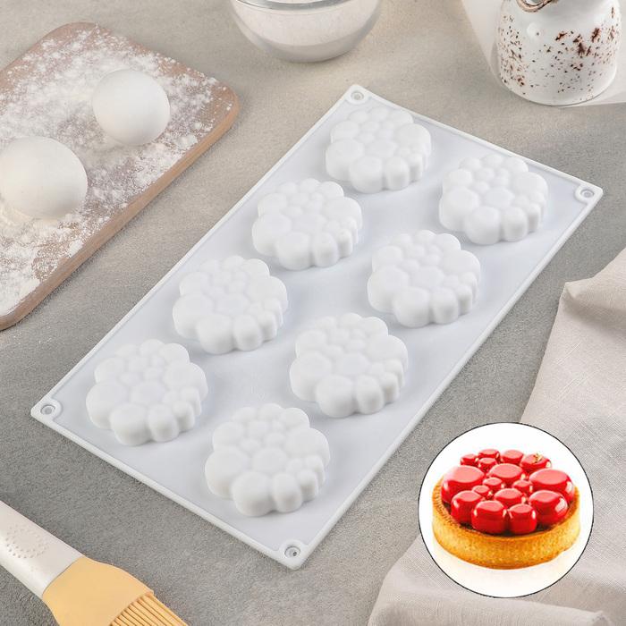 Форма для муссовых десертов и выпечки Доляна «Молекула», 30×17 см, 8 ячеек (6×1,5 см), цвет белый - фото 662841