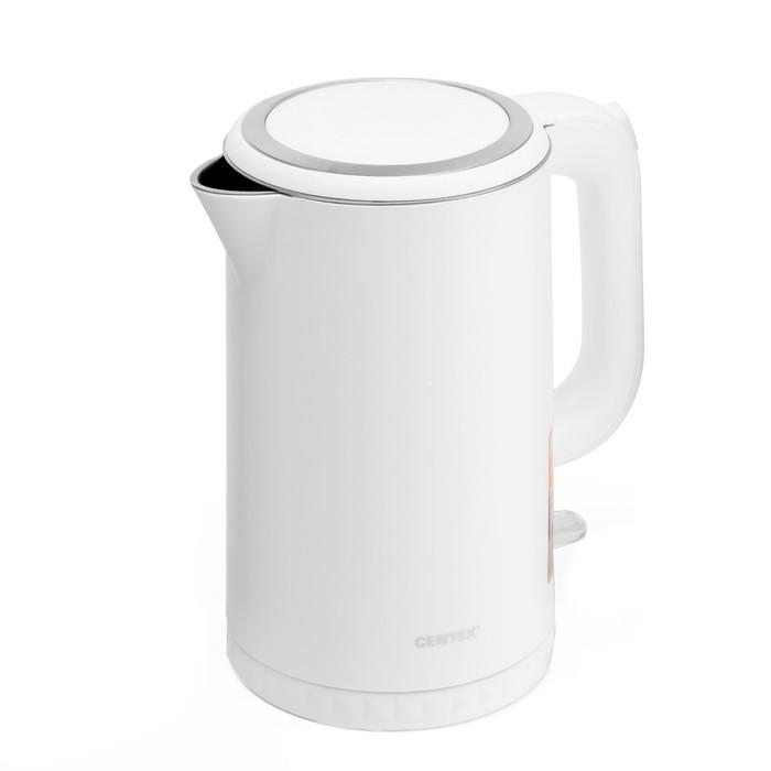 Чайник электрический Centek CT-0020, пластик, 1.7 л, 2200 Вт, бесшовная колба металл, белый