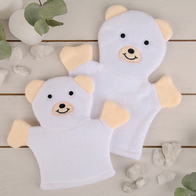 """Washcloth mitten children's """"Mishutka"""", 2 PCs per set, color white"""