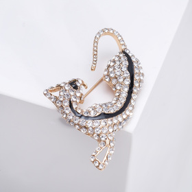 Brooch, the Leopard, predator, color white-black gold