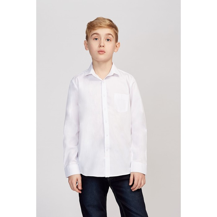 Школьная рубашка для мальчика, цвет белый, рост 152-158 см (34) - фото 76129733