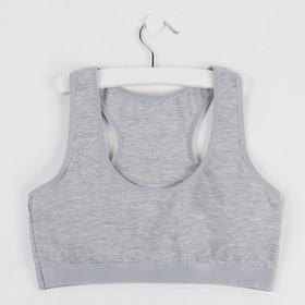 Топ для девочки, цвет серый, рост 134-140 см