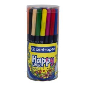 Набор капиллярных ручек 36 штук, Centropen HAPPY LINER 2521, 0.3 мм, пластиковый пенал, цвет микс