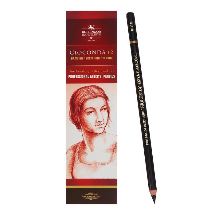 Уголь для рисования искусственный чёрный ''Gioconda'', карандаш, мягкий, L=175 мм, D=7,5 мм